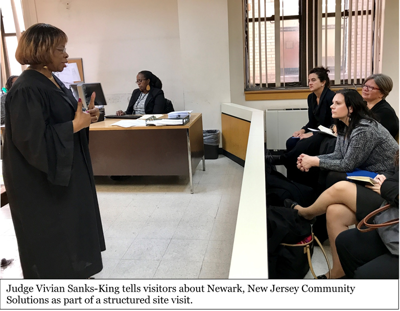 Photo: Judge Vivian Sanks-King tells visitors about Newark, New Jersey Community Solutions as part of a structured site visit.