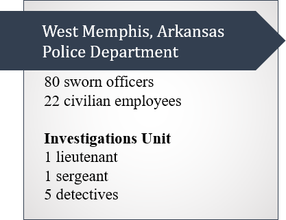 Callout Box on the West Memphis Police Department: 80 sworn officers, 22 civilian employees, and within the Investigations Unit: 1 lieutenant, 1 sergeant, and 5 detectives.