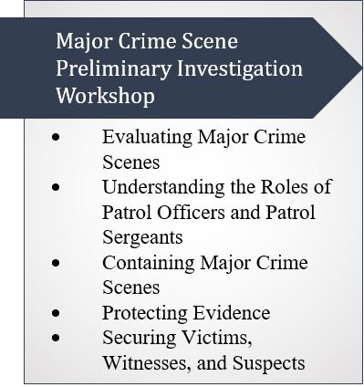 Callout Box on Major Crime Scene Preliminary Investigations Workshop Topics: Evaluating Major Crime Scenes; Understanding the Roles of Patrol Officers and Patrol Sergeants; Containing Major Crime Scenes; Protecting Evidence; and Securing Victims, Witnesses, and Suspects.