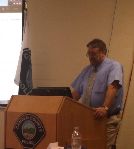 Stewart Bruce of Washington College at speaker's podium