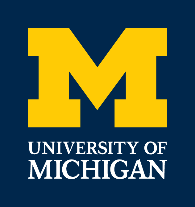 Blue square with a maize block M in the middle and University of Michigan written under the M